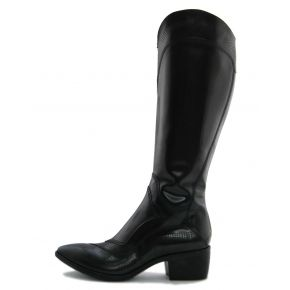 THE BOOT MEDIUM TOE BLACK PATENT LEATHER MICROTRAFORATA HIGH UPPER