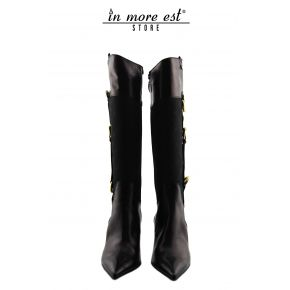 THE BOOT MEDIUM TOE BLACK CALF/FABRIC WITH LOGO SWORD BLACK BUCKLES METAL GOLD OUTER CALF