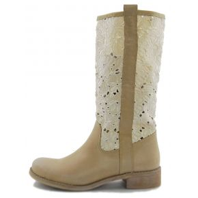 BOOT CALF BEIGE LEGGING LACE PORTACHIAV TUNNEL WHITE