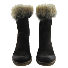 ANKLE-BOOTS LOWER LEG AND CALF PELLIC BROWN SUEDE BOTTOM, RUBBER AND FUR