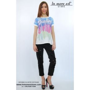 T-SHIRT BLANC SPAMPA PLUMES MULTICOLORES, DOS OUVERT SINT/VISC