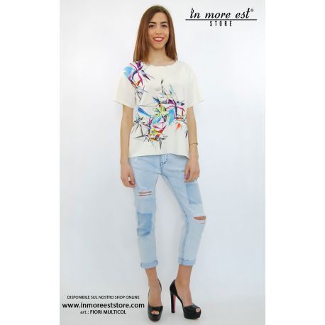 T-SHIRT BLANCO CON ESTAMPADO DE FLORES MULTICOLOR DE NEOPRENO
