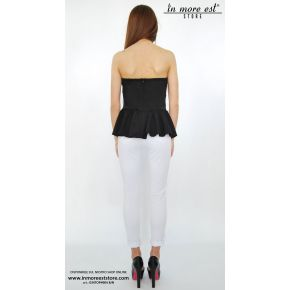 WHITE TOP/BLACK STRAPLESS RUFFLE UNDER