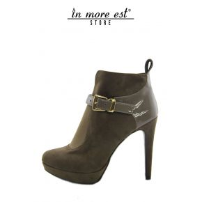 SOCKET HIGH PLATEAU SUEDE TAUPE PAINT TAUPE BUCKLE METAL GOLD, ELASTIC BACK FOOT