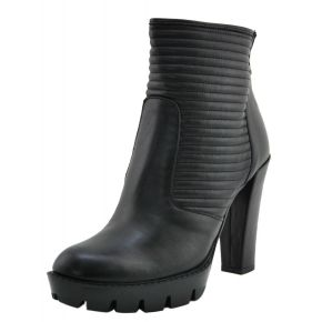 SOCKET HIGH PLATEAU BLACK CALF TRAPUNT ON THE NECK TO THE BOTTOM OF CARAMATO BLACK RUBBER