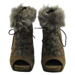 SOCKET HIGH PLATEAU SPUNT PELLIC ALLAC BROWN SUEDE FUR