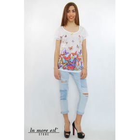 TSHIRT BIANCA STAMPA FARFALLE E STRASS COTONE/POLY TRAF