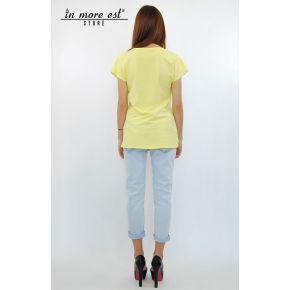 T-SHIRTS WITH YELLOW PRINT BUTTERFLIES AND RHINESTONES COTTON/POLY TRAF