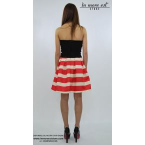 DRESS IN A CORSET AND BLACK BALLOON SKIRT RED AND WHITE STRIPES