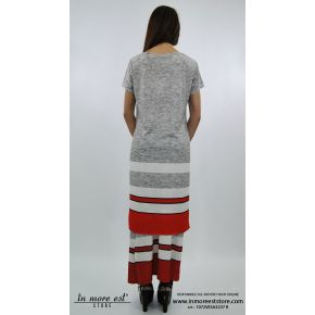 LONG JERSEY GREY HALF SLEEVES BOTTOM RED AND WHITE STRIPES SIDE SLITS
