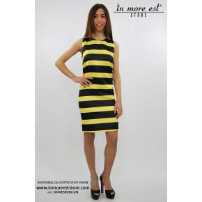 DRESS FLARED LINES BLACK AND YELLOW