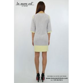 DRESS DRESS COTTON WOVEN GREY EMBROIDERY YELLOW