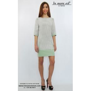 DRESS DRESS COTTON TEXTURED GRAY GREEN EMBROIDERY