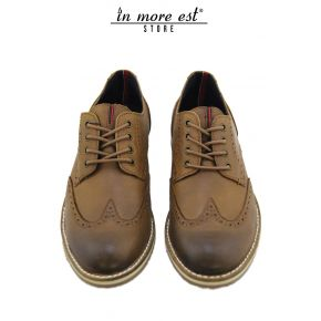 LACED CASUAL BROWN LEATHER BOTTOM PARA RUBBER BEIGE