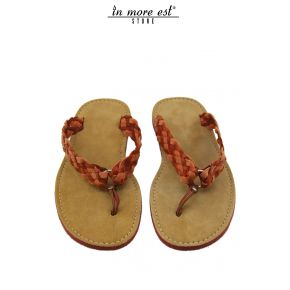 PANTOUFLE TONGS EN CUIR ET DAIM ORANGE