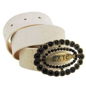 BELT SUEDE ICE BUCKLE METAL FRAME RHINESTONE BLACK LOGO EXTE'