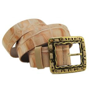 BELT COCONUT POWDER LAMIN BUCKLE METAL BURNISHED