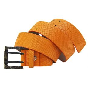 BELT PYTHON LEATHER ORANGE CLASP METAL FRAME