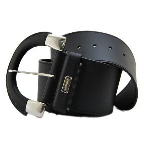 BELT HIGH BLACK LEATHER BUCKLE LARGE METAL SILVER