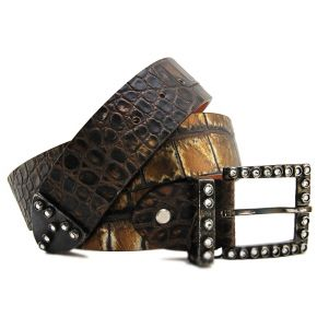 CINTUTRA COCONUT BROWN LAMIN GOLD BUCKLE METAL BRUNIT WITH STUDS AND RHINESTONES