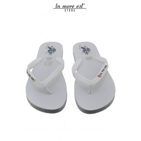 FLIP FLOPS SEA WHITE RUBBER LOGO US POLO