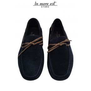 MOCCASIN SUEDE BLUE BOW BROWN LEATHER
