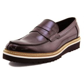 MOCCASIN ELEGANT BORDEAUX POLISHED THE BOTTOM OF CREPE RUBBER, WHITE