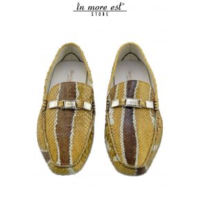 MOCASSINO PITONE BEIGE VENATURE MARRONE PLACC METAL ARGENTO LOGATA GUARDIANI