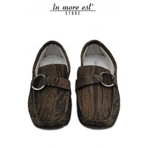 MOCASSINO SERPENTE MARRONE VENATURE NERE FIBBIA METAL BRUNITA