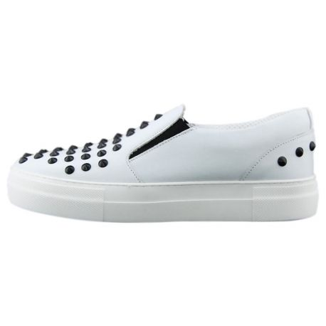 SLIP-ON VITELLO BIANCO BORCHIE NERE