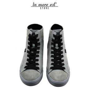 HIGH-TOP SNEAKERS GRAY SUEDE BROWN LACES