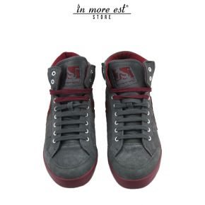 HIGH-TOP SNEAKERS, GREY/RED SUEDE