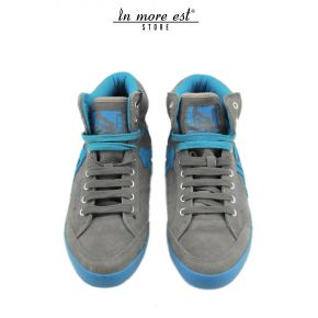 HIGH-TOP SNEAKERS GRAY/TURQUOISE SUEDE
