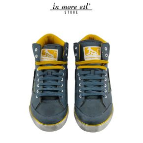 HIGH-TOP SNEAKERS-GREEN/YELLOW LEATHER VINTAGE