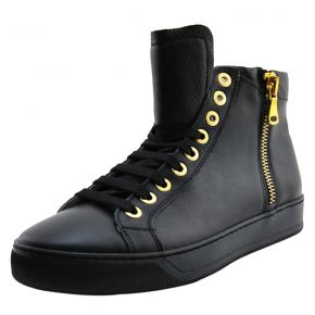 SNEAKERS ALTA VITELLO NERO ZIP LATERALE