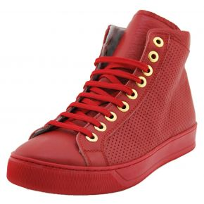 HIGH-TOP SNEAKERS CALFSKIN RED PERFORATED