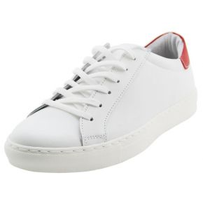 SNEAKERS LOW WHITE LEATHER/RED
