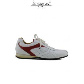 BASKETS BASSES-WHITE/RED DE VEAU, BLANC