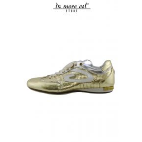 SNEAKERS LOW LAMIN GOLD/ARG LOGO G WHITE PAINT