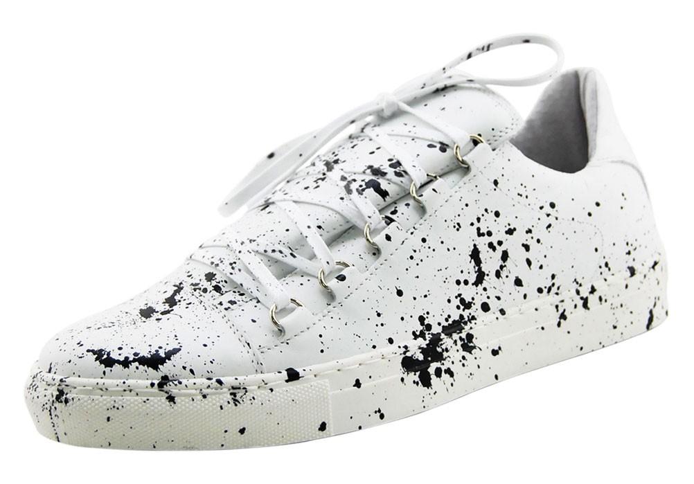 Vitello Vernice Bianco Bassa Sneakers Schizzi Nera HW29IED