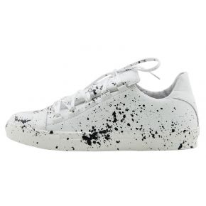 SNEAKERS LOW WHITE LEATHER SPLASH BLACK PAINT