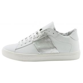 SNEAKERS LOW WHITE LEATHER/SILVER