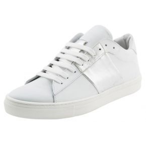 Sneakers bassa bianca e argento Lea Gu in pelle