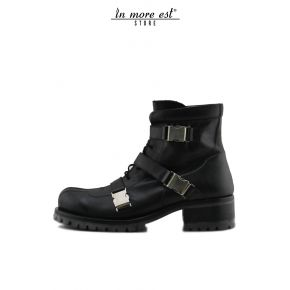 BOOTIE AMPHIBIAN, BLACK CALF LACE-UP AND AUTOMATIC BUCKLES FOR METAL ARG FUND CARARMATO BLACK