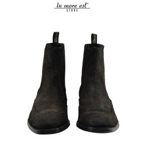 Damen Texans Stiefel Schwarz Leder Mittle Absatz Made in Italy