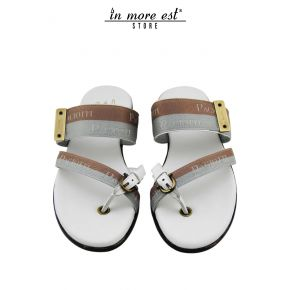 SLIPPER FLIP FLOPS CASUAL TAUPE/GREY FABRIC WITH LOGO PACIOTTI BUCKLE/PLAC LOGO PACIOTTI METAL BURNISHED INSOLE CALF BIA