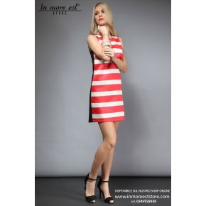 DRESS FLARED WITH RED STRIPES AND WHITE