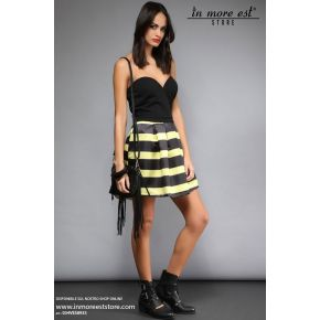 DRESS IN A CORSET AND BLACK BALLOON SKIRT WITH BLACK STRIPES AND YELLOW