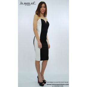 SHEATH DRESS BLACK/WHITE STRAPLESS