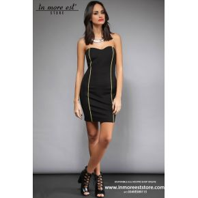 SHEATH DRESS WITH BLACK PIPING YELLOW
